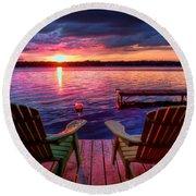Muskoka Chair Sunset Round Beach Towel