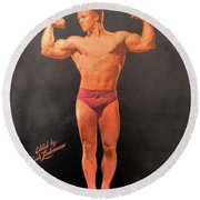 Muscle Power Mag Aug 1947 Round Beach Towel