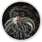 Mustache Monkey IIi Altered Round Beach Towel