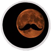 Mustache Moon Round Beach Towel