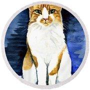 Mustached Bicolor Beauty - Cat Portrait Round Beach Towel