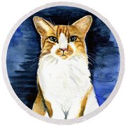 Mustached Bicolor Beauty - Cat Portrait Round Beach Towel
