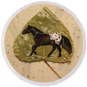 Mustang Appaloosa On Poplar Leaf Round Beach Towel by Ralph Root