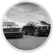 Mustang Buddies In Black And White Round Beach Towel