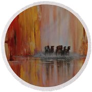 Round Beach Towel featuring the painting Mustang Canyon by Karen Kennedy Chatham