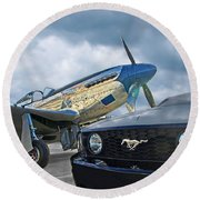 Mustang Gt With P51 Round Beach Towel