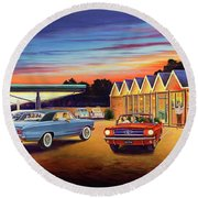 Mustang Sally - Shelton's Diner 2 Round Beach Towel