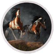 Round Beach Towel featuring the digital art Mustangs Of The Storm by Daniel Eskridge