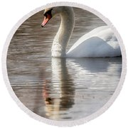 Round Beach Towel featuring the photograph Mute Swan - 2 by David Bearden