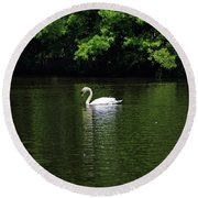 Round Beach Towel featuring the photograph Mute Swan by Sandy Keeton