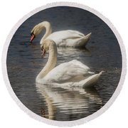 Round Beach Towel featuring the photograph Mute Swans by David Bearden