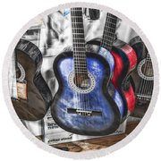 Muted Guitars Round Beach Towel