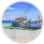 Round Beach Towel featuring the painting Mv Alice Mary by Patricia Piffath