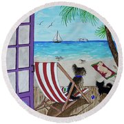My 3 By The Sea Round Beach Towel