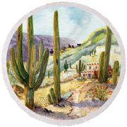 Round Beach Towel featuring the painting My Adobe Hacienda by Marilyn Smith