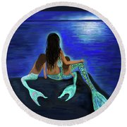 Round Beach Towel featuring the painting My Adorable Girls by Leslie Allen