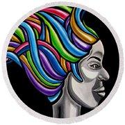 Abstract Female Face Artwork - My Attitude Round Beach Towel