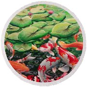 My Backyard Pond Round Beach Towel