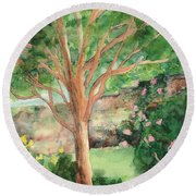 Round Beach Towel featuring the painting My Backyard by Vicki  Housel