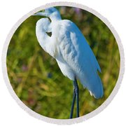 My Better Side Round Beach Towel by Betsy Knapp