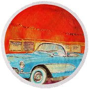Round Beach Towel featuring the painting My Blue Corvette At The Orange Julep by Carole Spandau
