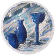 My Blue Vases Round Beach Towel
