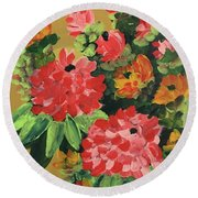 My Brush Sings In The Garden Round Beach Towel