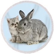 My Bunny Little Friend Round Beach Towel