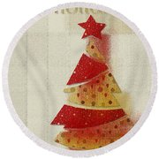 My Christmas Tree 02 - Happy Holidays Round Beach Towel by Aimelle