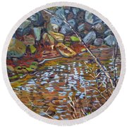 My Creek Round Beach Towel by Donald Maier