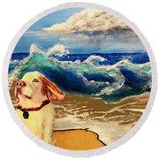 My Dog And The Sea #1 - Beagle Round Beach Towel