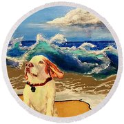 My Dog And The Sea #1 - Beagle Round Beach Towel