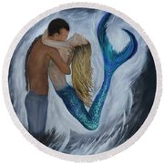 Round Beach Towel featuring the painting My Dream Mermaid by Leslie Allen