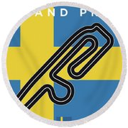 My F1 Anderstorp Race Track Minimal Poster Round Beach Towel