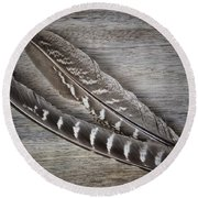 My Fabulous Feathery Find. Round Beach Towel by Karen Stahlros
