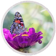 My Fair Painted Lady Round Beach Towel