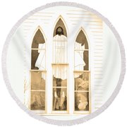 My Fathers Church Window Round Beach Towel by Lenore Senior