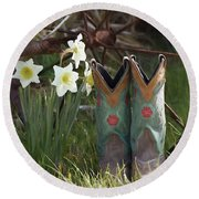 Round Beach Towel featuring the photograph My Favorite Boots by Benanne Stiens