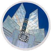 My Favorite #building In #myhometown Round Beach Towel by Austin Tuxedo Cat