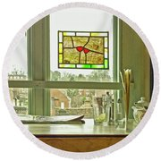 Round Beach Towel featuring the photograph My Favourite Cafe by Anne Kotan