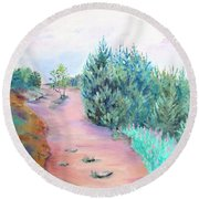 Round Beach Towel featuring the painting My Favourite Place II by Elizabeth Lock