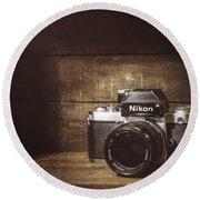 My First Nikon Camera Round Beach Towel