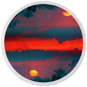 Round Beach Towel featuring the photograph My First Sunset- by JD Mims