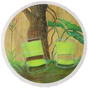 My Florida Green Backyard Round Beach Towel