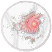 Round Beach Towel featuring the digital art My Fractal Heart by Fran Riley