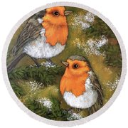 My Friends Robins Round Beach Towel by Inese Poga