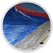 My Fuji House In Japan  Round Beach Towel by Don Koester