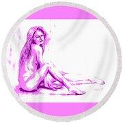 My Funny Valentine... Round Beach Towel by Edgar Torres