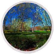 My Garden In Spring Round Beach Towel