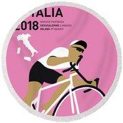 My Giro Ditalia Minimal Poster 2018 Round Beach Towel